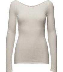 open neck rib top t-shirts & tops long-sleeved wit filippa k