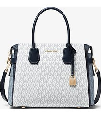 mk borsa a mano mercer media color block con logo - navy cangiante (blu) - michael kors