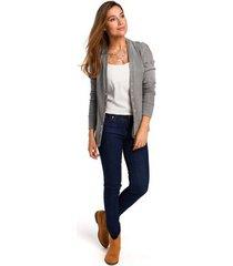 blouse style s198 vest met drukknopen - grijs
