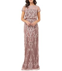 women's js collections scallop embroidered blouson evening dress, size 8 - pink
