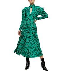 women's topshop animal print long sleeve midi dress, size 8 us - green