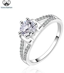 1.24 ct diamond round cut white gold plated 925 silver women's engagement ring