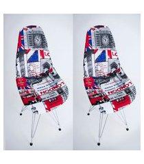 kit com 02 capas para cadeira charles eames eiffel wood londres