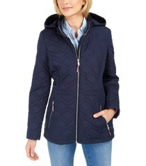 tommy hilfiger hooded rain-resistant quilted jacket