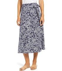 women's caslon faux wrap midi skirt, size small - blue
