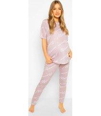 zwangerschaps mama pyjama set met broek, dark grey