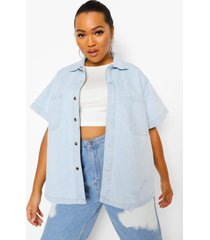 plus oversized spijkerblouse met korte mouwen, vintage blue