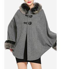 cappotti di poncho bicolore con ali di pipistrello in pelliccia sintetica