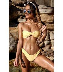 showpo billie bikini top in lemon - 14 (xl) bikini sets