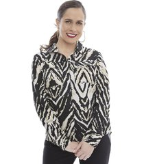 blusa camisera manga larga animal print   corona