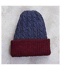 reversible 100% alpaca hat, 'warm and snug' (peru)