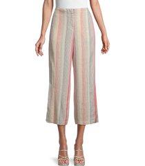 nic+zoe women's sweetclover linen-blend cropped pants - orange beige multicolor - size 8