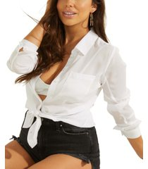 guess cleo solid tie-front top