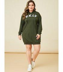 yoins plus tamaño ejército verde carta manga larga vestido
