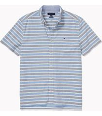 tommy hilfiger men's adaptive seated fit stripe short sleeve shirt dynamic blue - l