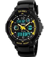 reloj sport digital analogo skmei ad0931 - color negro amarillo