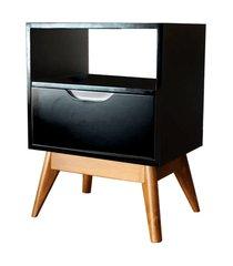 mesa de cabeceira on preta base madeira envelhecida - 57213 preto