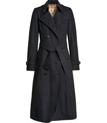 burberry chelsea heritage belted trench coat - blue