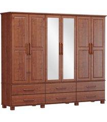 roupeiro bipartido 6 portas 6 gavetas e 2 espelhos finestra linha ouro cor imbuia