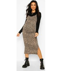 maternity leopard print midi 2 in 1 slip dress, black