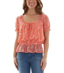 bcx juniors' floral-print peplum top