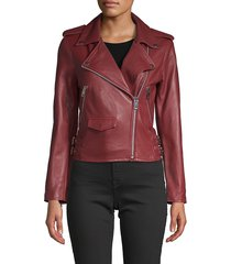 walter baker women's notch-collar leather moto jacket - coffee - size s