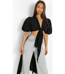 blouse met langere achter zoom en strik, black