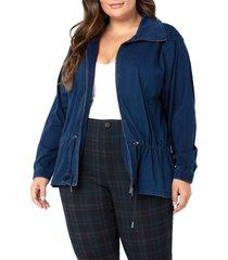plus size women's liverpool los angeles denim bomber jacket, size 1x - blue