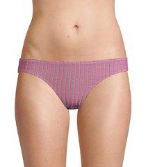 solid and striped women's the elle striped bikini bottoms - lavender - size l