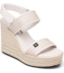 wedge sandal sling co sandalette med klack espadrilles vit calvin klein