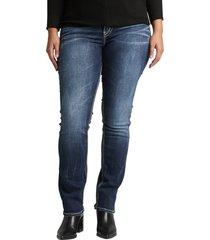plus size women's silver jeans co. suki straight leg jeans, size 14w x 32 - blue