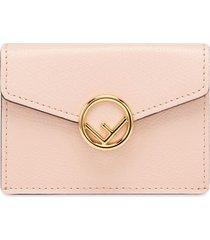 fendi micro tri-fold wallet - pink