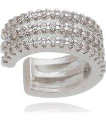 brinco piercing fake argola drusi semi joias micro cravação cristal prateado