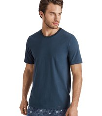 hanro heren sleep & lounge living leisure s/slv t- shirt blauw 075050