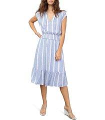 women's rails ashlyn stripe linen blend dress, size small - blue