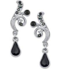 2028 silver-tone black and hematite color crystal vine drop earrings