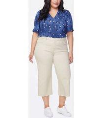nydj women's plus size wide leg capri jeans with frayed hem