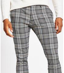 river island mens grey tartan check super skinny smart trousers
