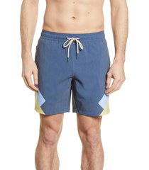 fair harbor the bayberry colorblock swim trunks, size medium in yellow stripe at nordstrom