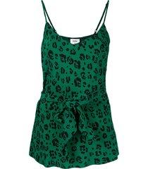 suboo leopard belted bias cut cami top - green