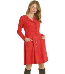 vestido broches rojo bous