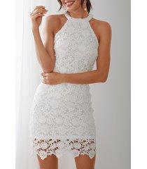 halter blanco cuello midi bodycon de encaje delicado vestido
