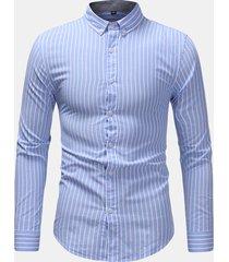 manica lunga a maniche lunghe in cotone con bottoni in cotone da uomo business sottile camicia