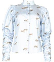 pofmouw blouse met print nila  blauw