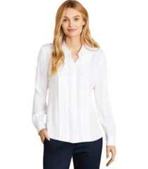 blusa pintucked crepe blanco brooks brothers