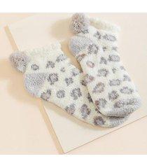 jennie leopard terry socks - gray