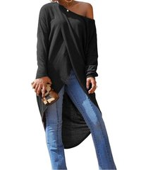 zanzea mujeres de manga larga cruzada de hendidura blusas asimétricas alta camisa bajo la blusa gris oscuro -gris