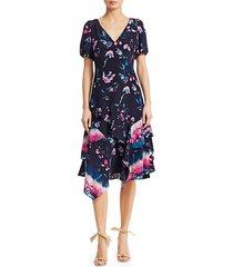tanya taylor women's estrella floral ruffle dress - tie dye floral - size 0