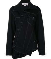 monse oversized twisted denim jacket - black