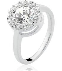 anel prata rara princesa redondo branco